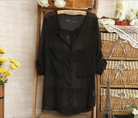 V-Neck Black Loose Blouse