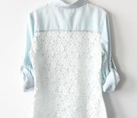 Light Blue Denim Shirt With Lace Back