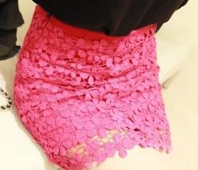 Pink High Waisted Lace Mini Skirt