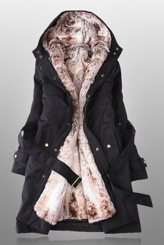 Winter Coats For Women With Faux Fur Lining In Black on Luulla