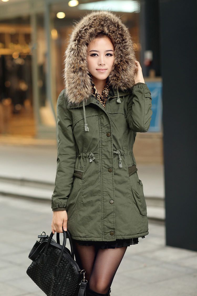 Womens Winter Coats Faux Fur Lining Parka With Fur Hood In Green ...
