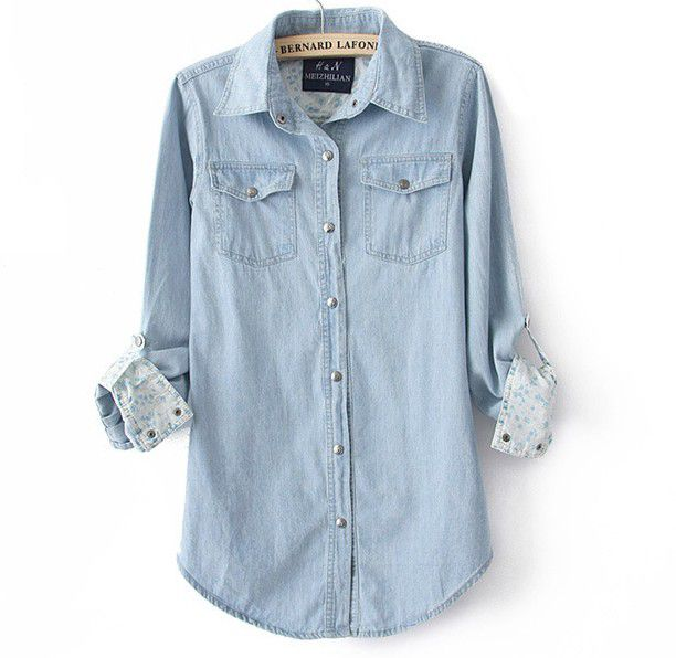 Light Blue Denim Shirt For Women on Luulla